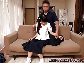 Uniformed teen getting seduced